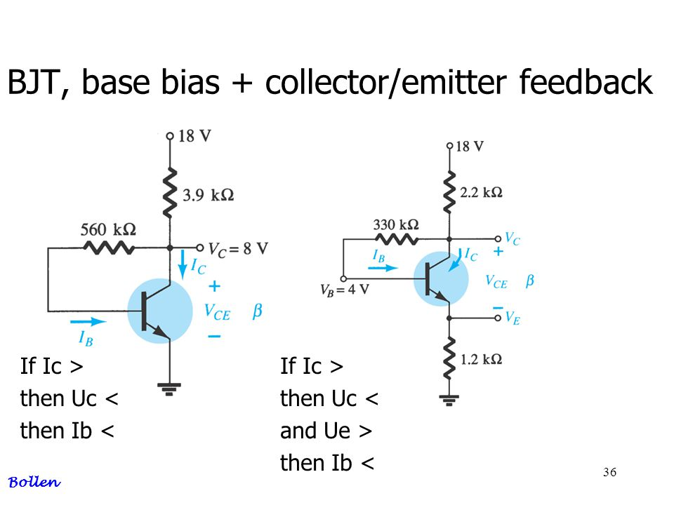 BJT, base bias + collector/emitter feedback