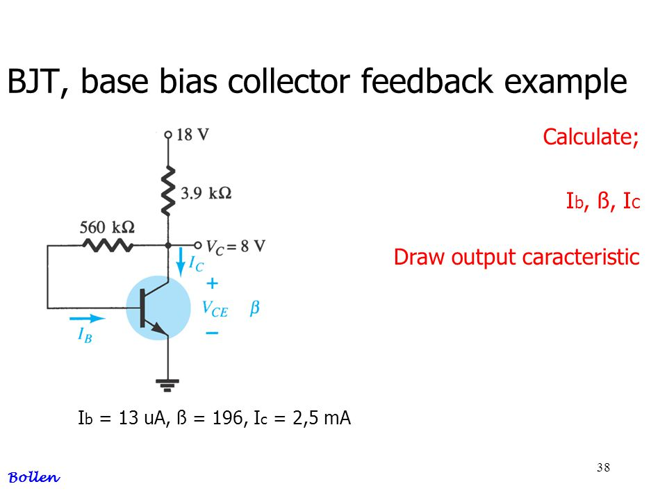 BJT, base bias collector feedback example