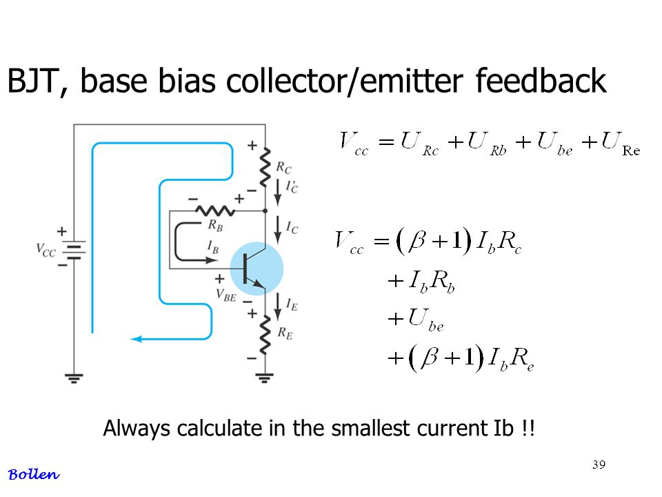 BJT, base bias collector/emitter feedback