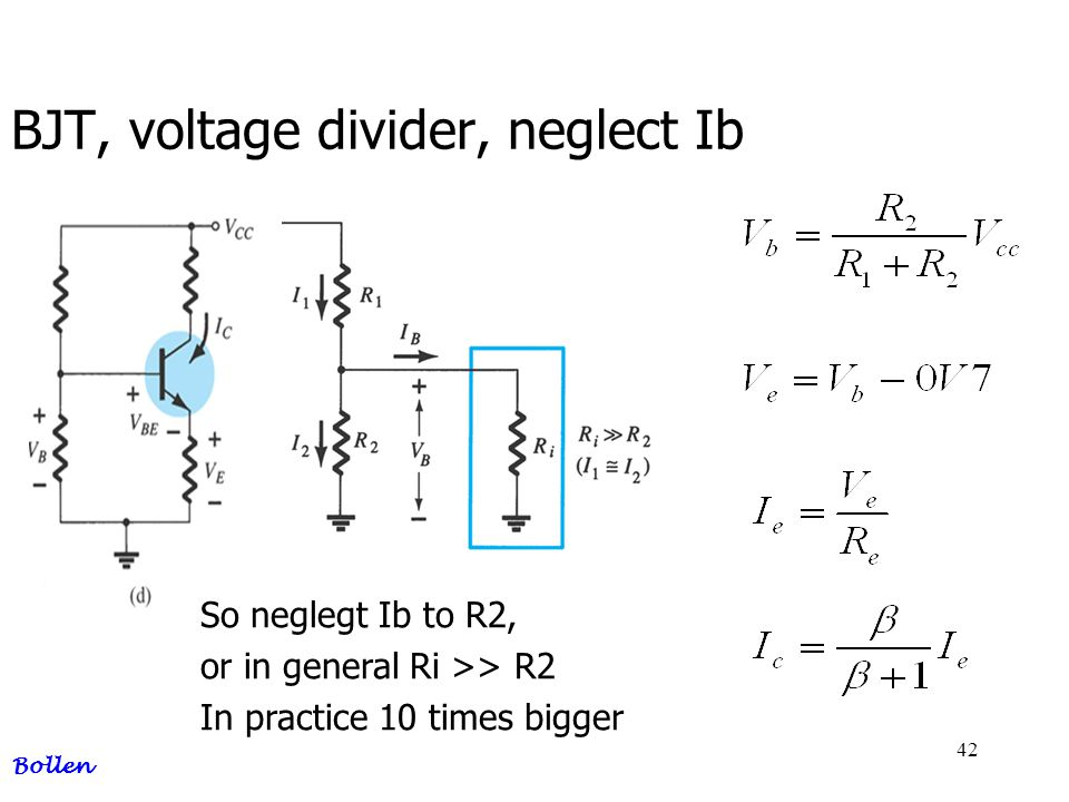 BJT, voltage divider, neglect Ib