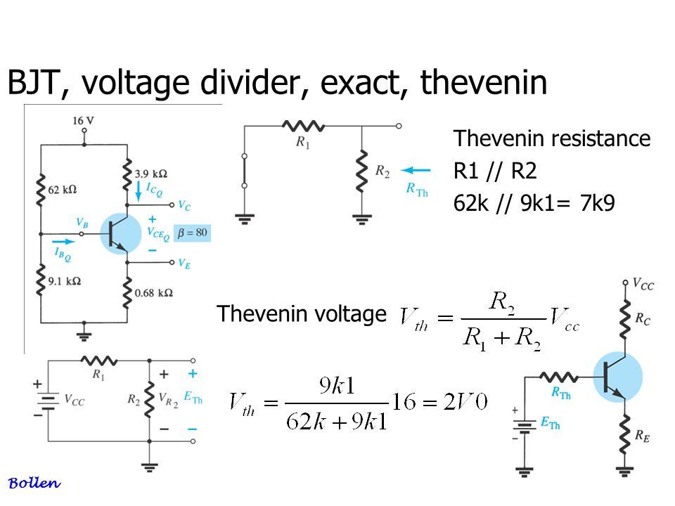 BJT, voltage divider, exact, thevenin