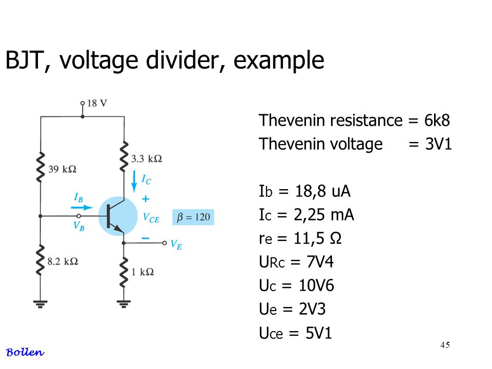 BJT, voltage divider, example
