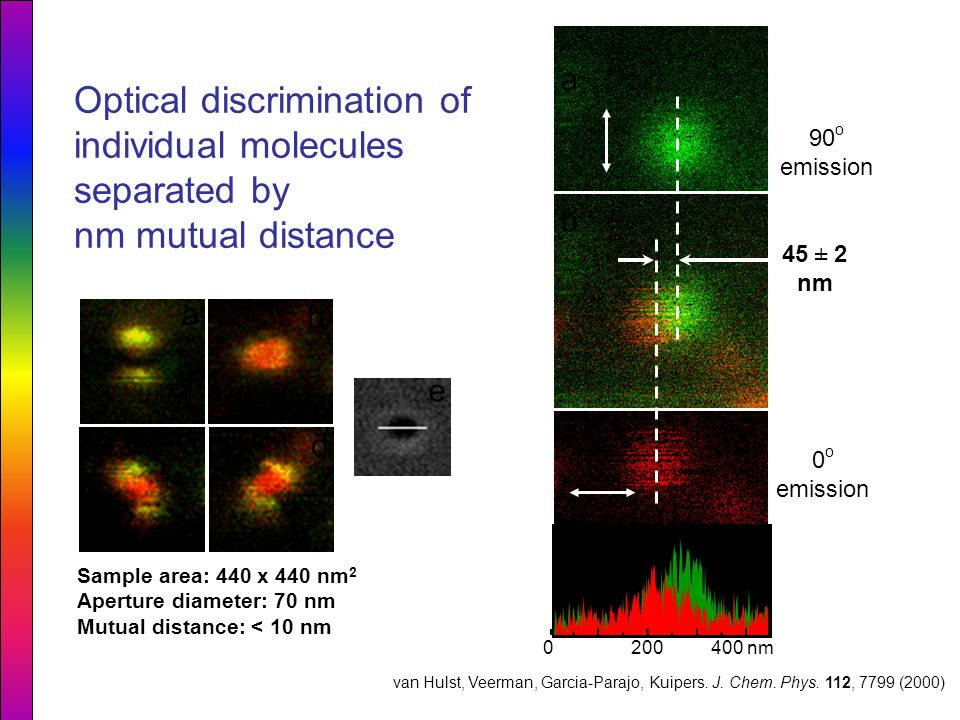 Optical discrimination of individual molecules separated by