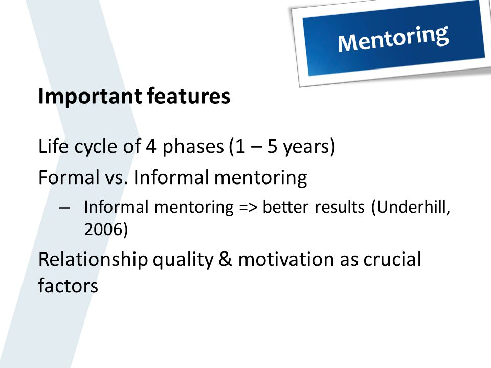 Mentoring Important features Life cycle of 4 phases (1 – 5 years)