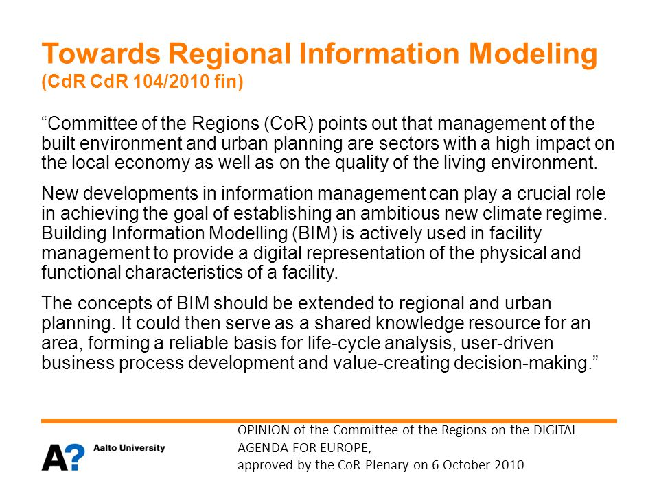 Towards Regional Information Modeling (CdR CdR 104/2010 fin)