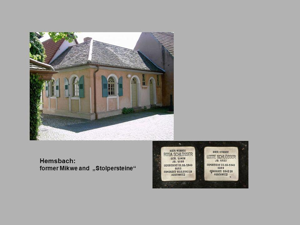 """Hemsbach: former Mikwe and """"Stolpersteine"""