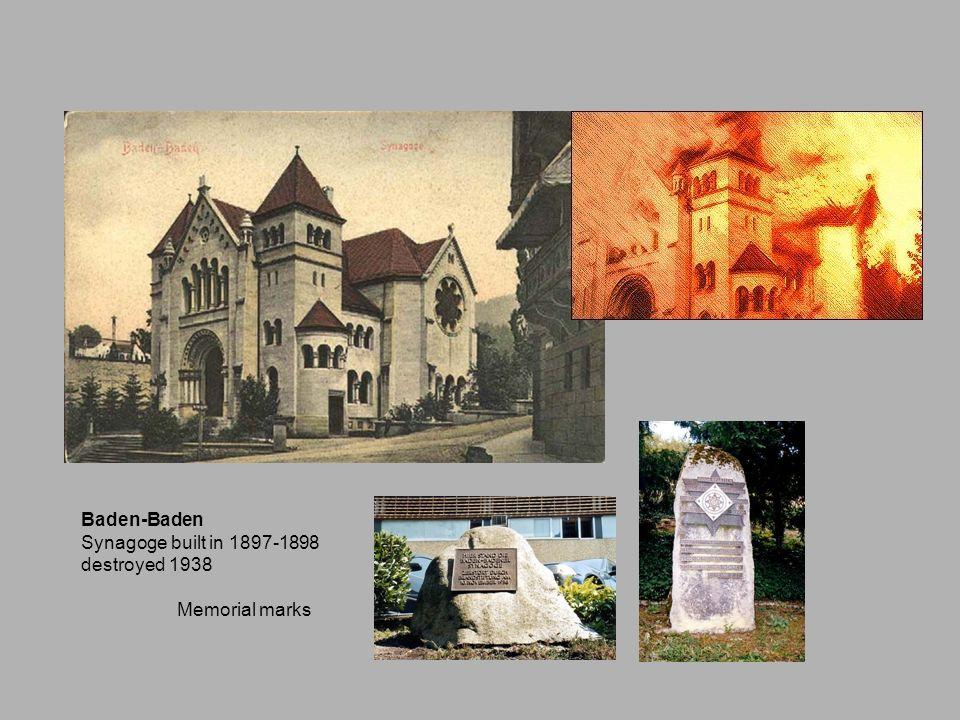Baden-Baden Synagoge built in 1897-1898 destroyed 1938 Memorial marks