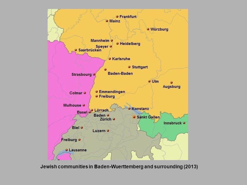 Jewish communities in Baden-Wuerttemberg and surrounding (2013)