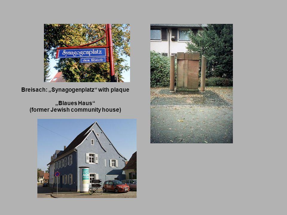 """Breisach: """"Synagogenplatz with plaque (former Jewish community house)"""