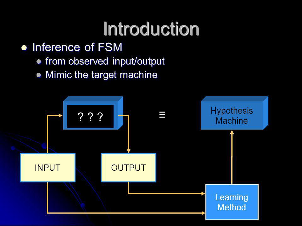 Introduction Inference of FSM ≡ from observed input/output