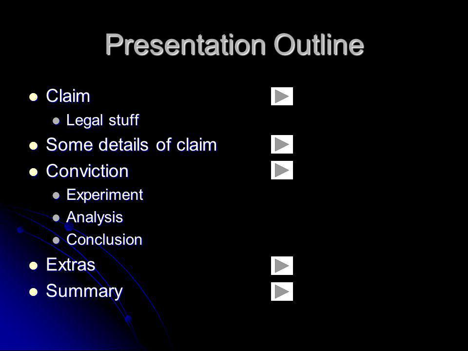 Presentation Outline Claim Some details of claim Conviction Extras