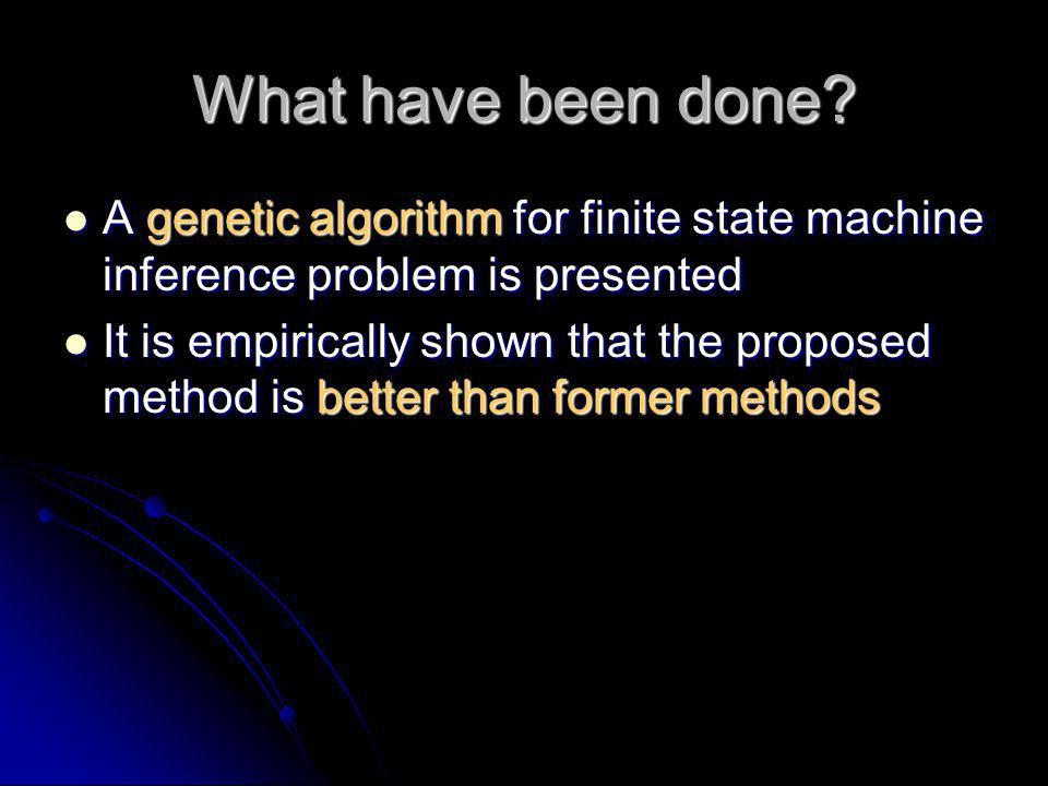 What have been done A genetic algorithm for finite state machine inference problem is presented.