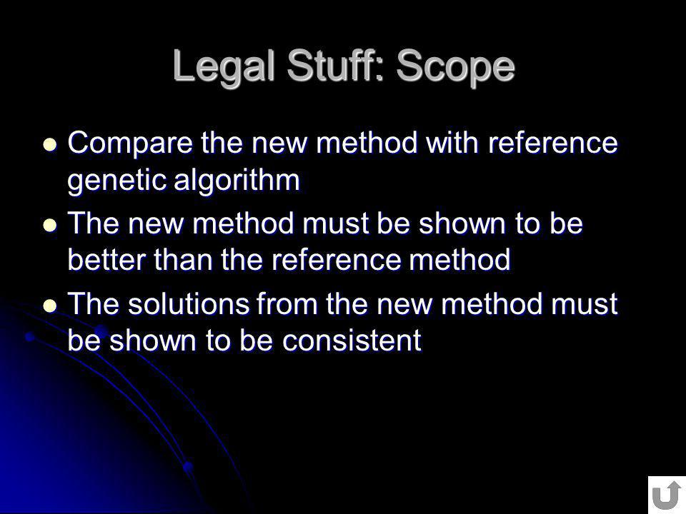 Legal Stuff: Scope Compare the new method with reference genetic algorithm. The new method must be shown to be better than the reference method.