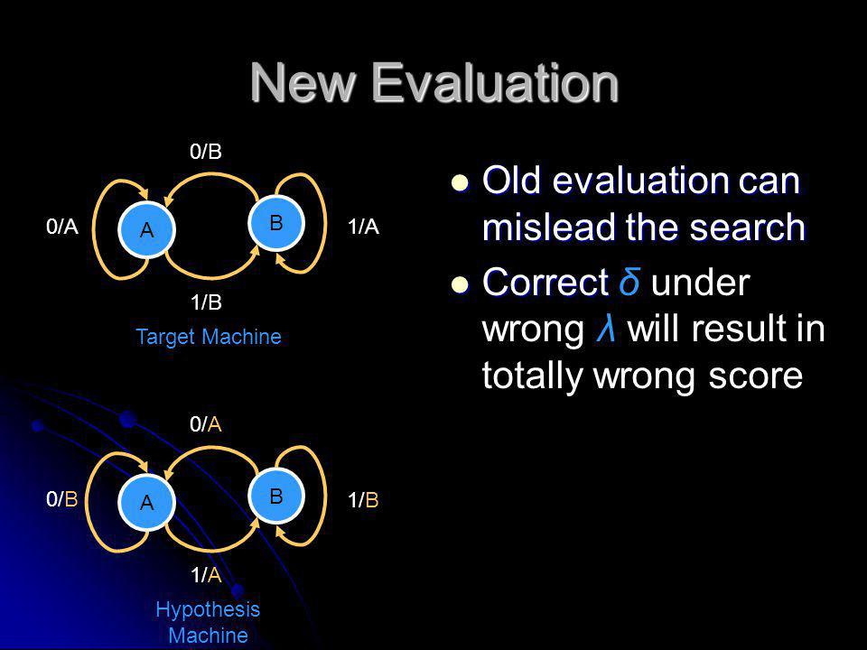 New Evaluation Old evaluation can mislead the search