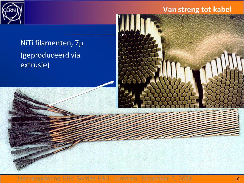 Van streng tot kabel NiTi filamenten, 7 (geproduceerd via extrusie)