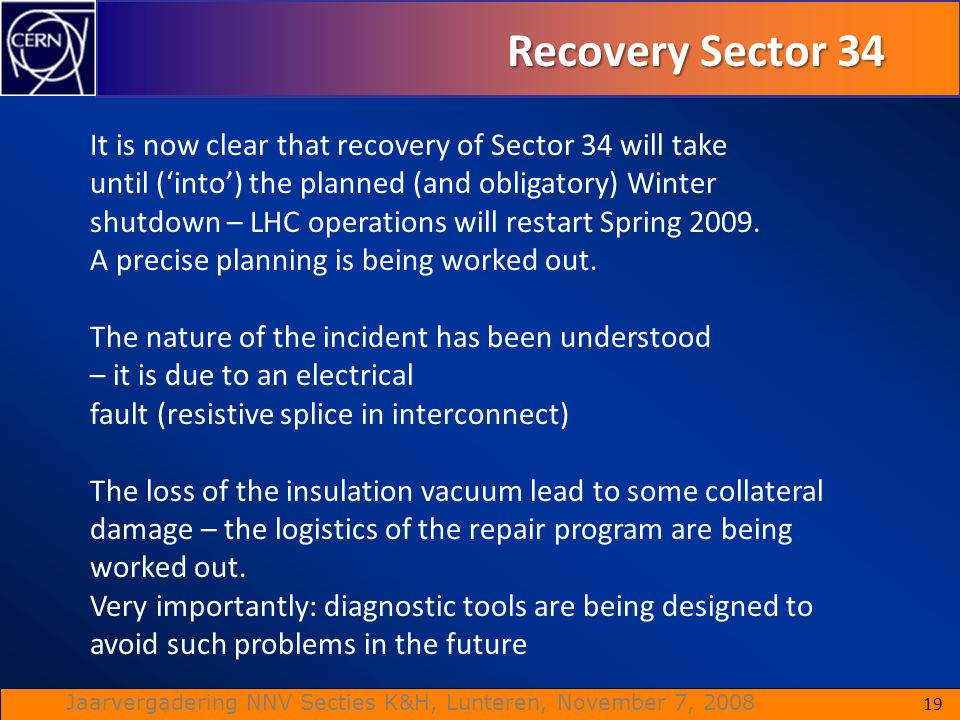 Recovery Sector 34 It is now clear that recovery of Sector 34 will take. until ('into') the planned (and obligatory) Winter.