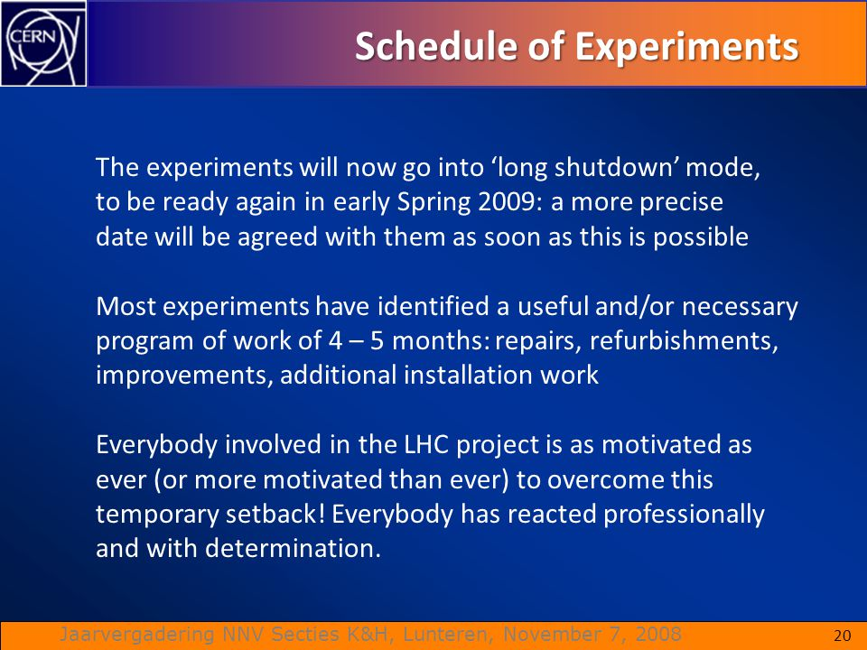 Schedule of Experiments