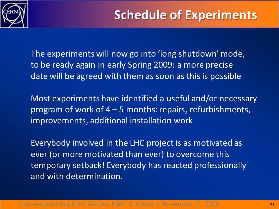 Schedule of Experiments