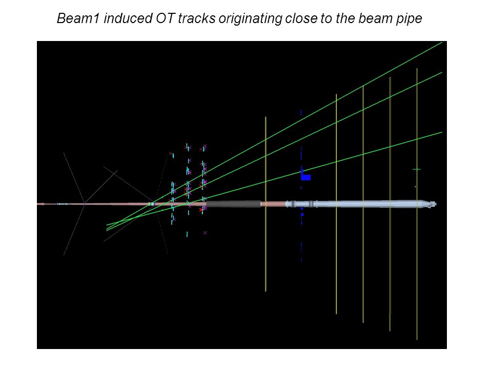 Beam1 induced OT tracks originating close to the beam pipe