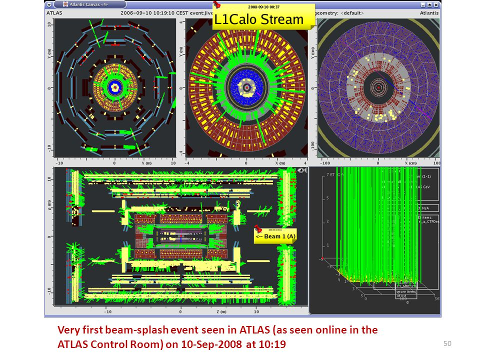 Very first beam-splash event seen in ATLAS (as seen online in the