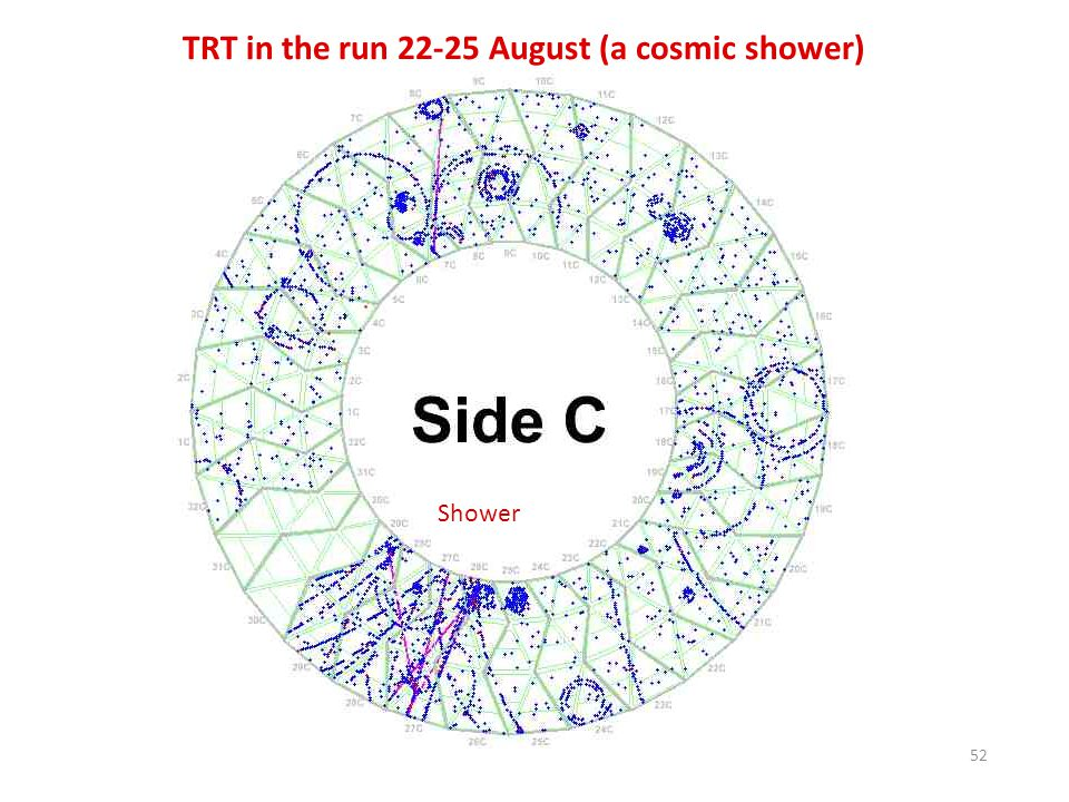 TRT in the run 22-25 August (a cosmic shower)