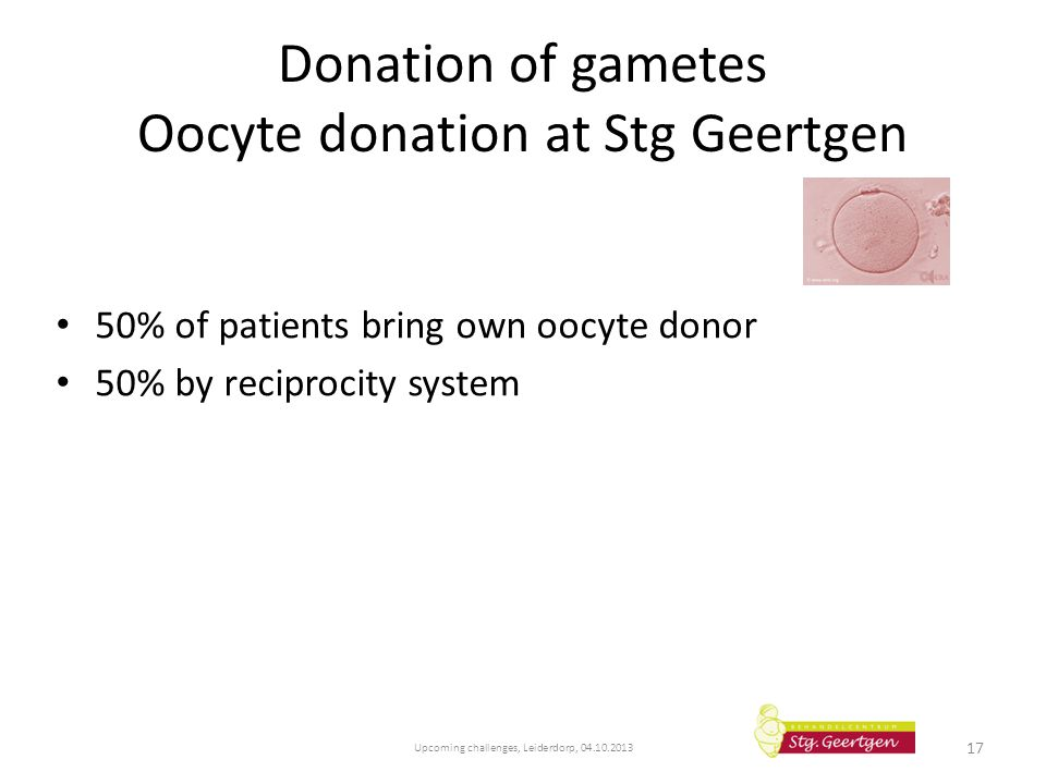 Donation of gametes Oocyte donation at Stg Geertgen