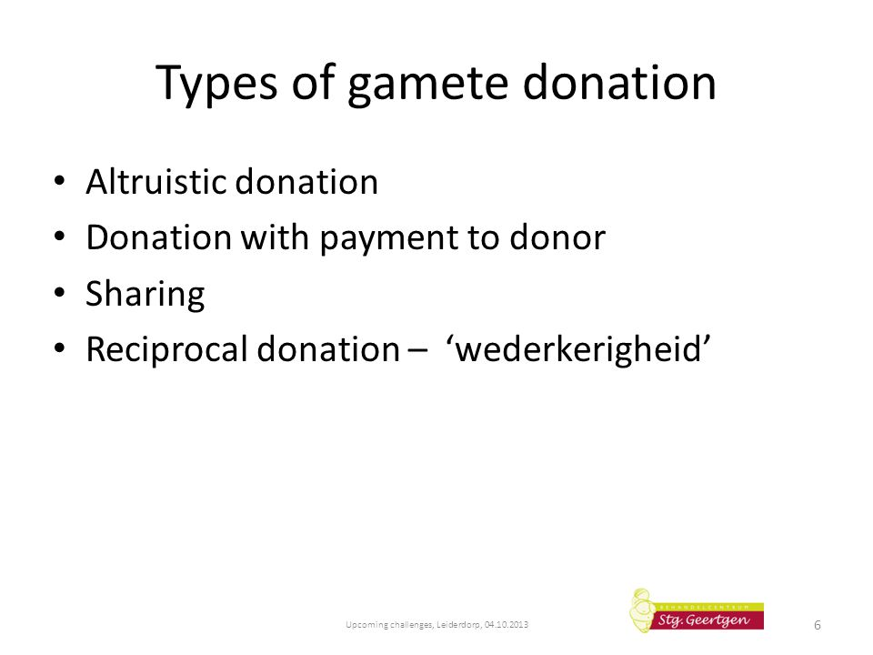 Types of gamete donation