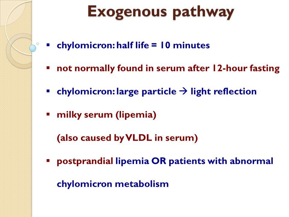 Exogenous pathway chylomicron: half life = 10 minutes
