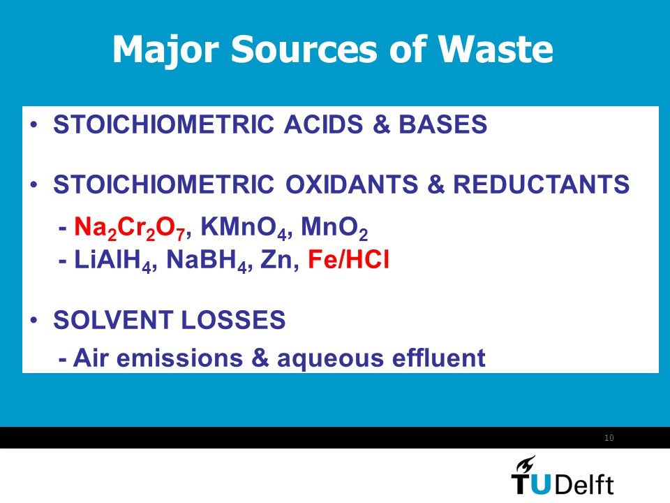 Major Sources of Waste STOICHIOMETRIC ACIDS & BASES