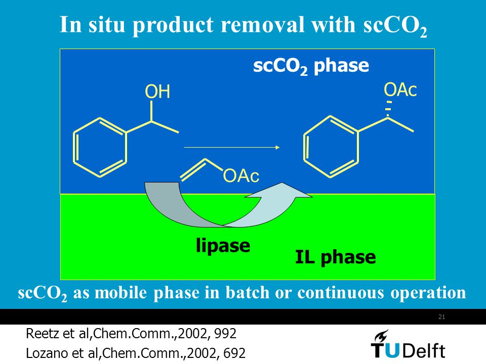 In situ product removal with scCO2