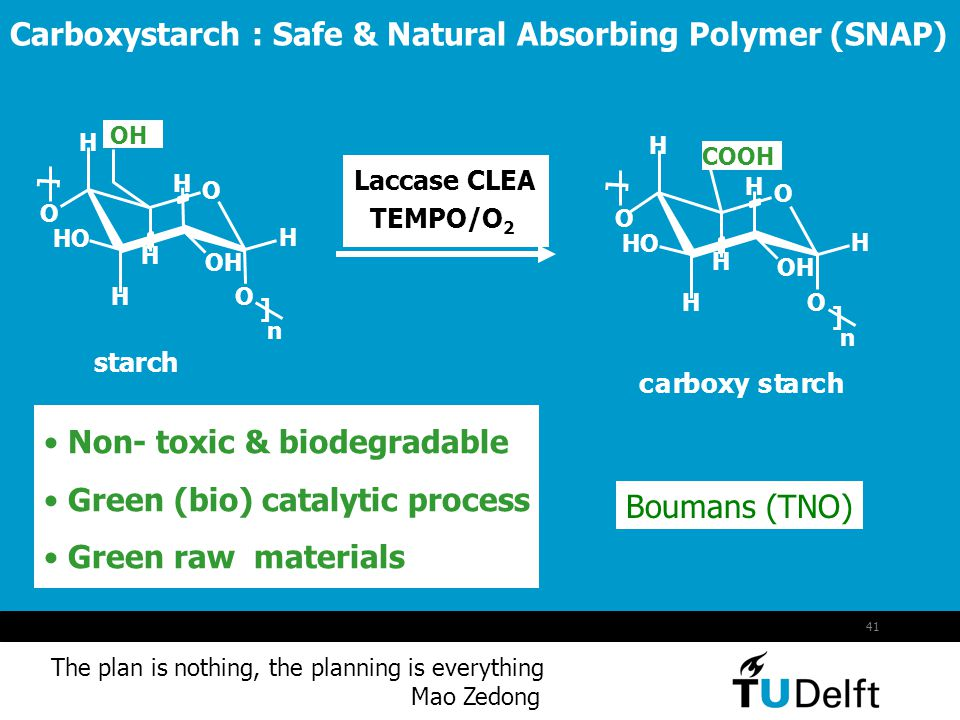 Carboxystarch : Safe & Natural Absorbing Polymer (SNAP)