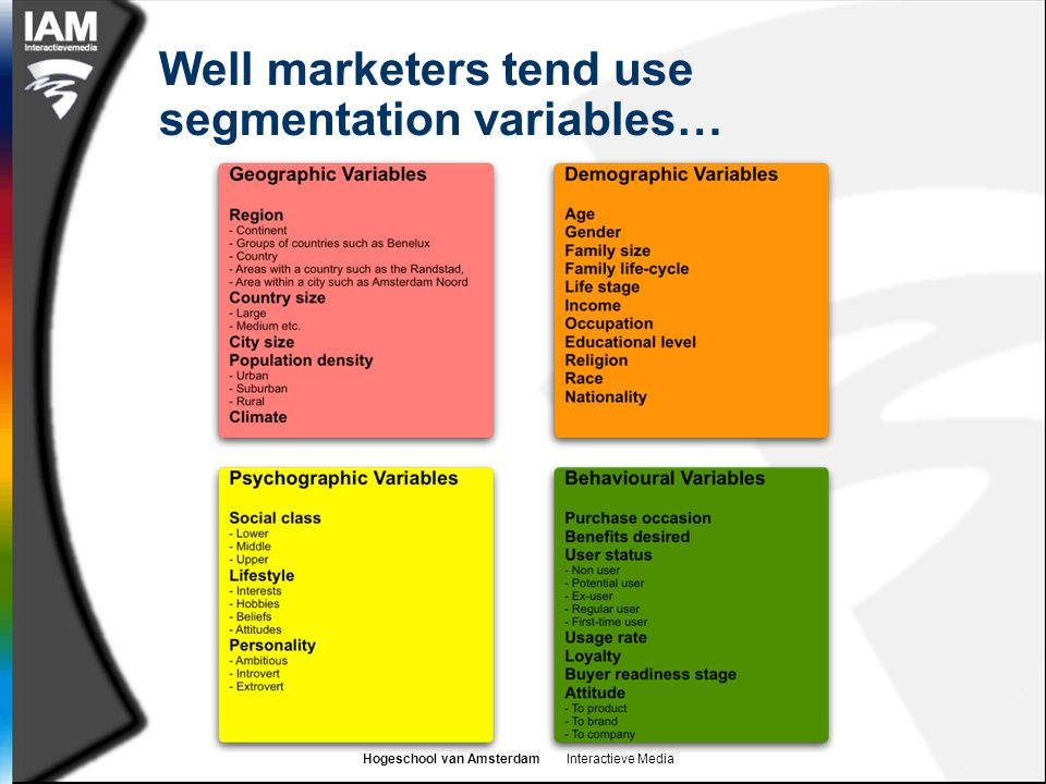 Well marketers tend use segmentation variables…