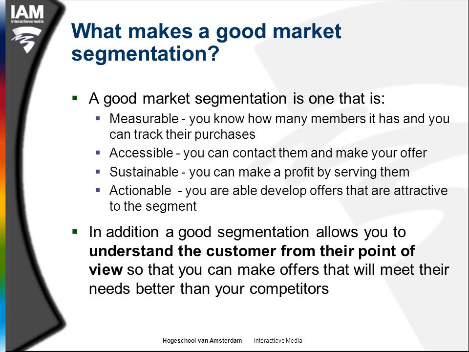 What makes a good market segmentation