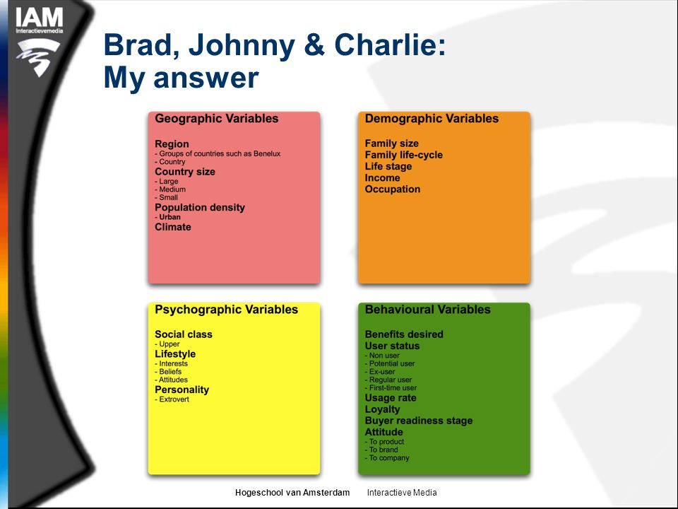 Brad, Johnny & Charlie: My answer