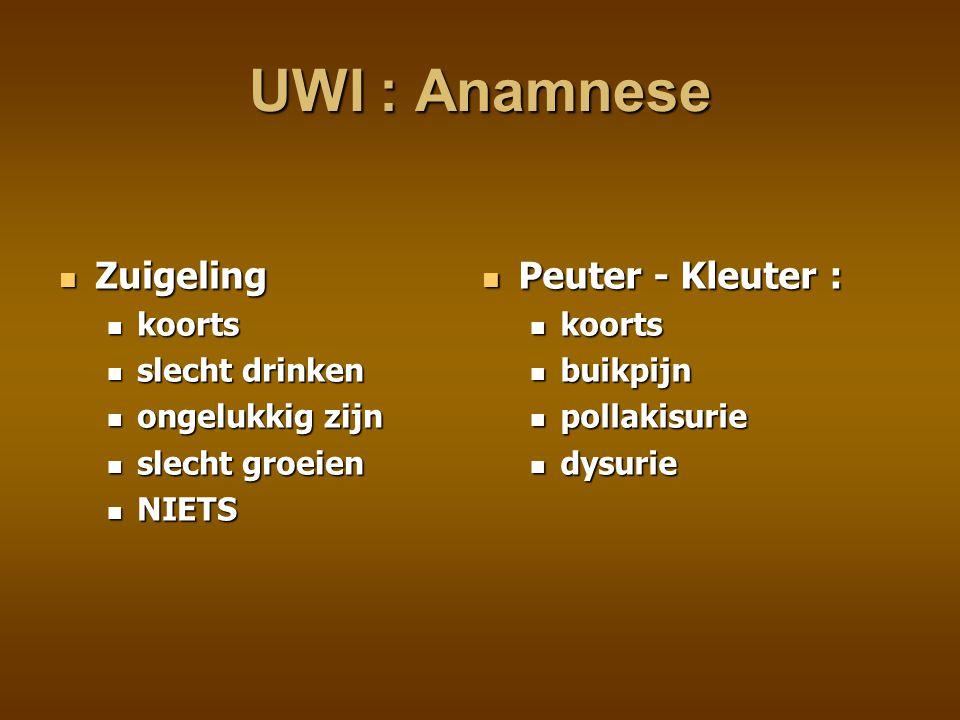 UWI : Anamnese Zuigeling Peuter - Kleuter : koorts slecht drinken