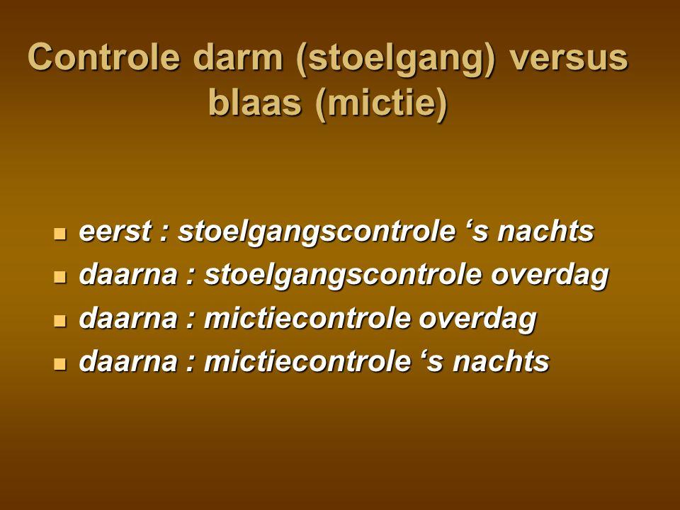 Controle darm (stoelgang) versus blaas (mictie)