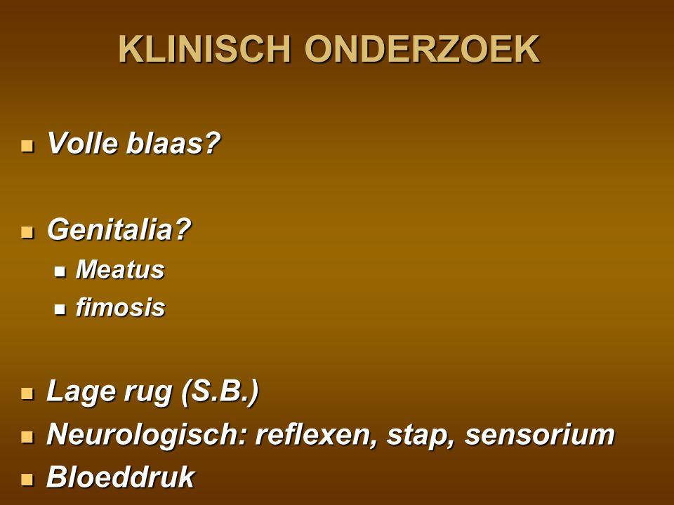KLINISCH ONDERZOEK Volle blaas Genitalia Lage rug (S.B.)
