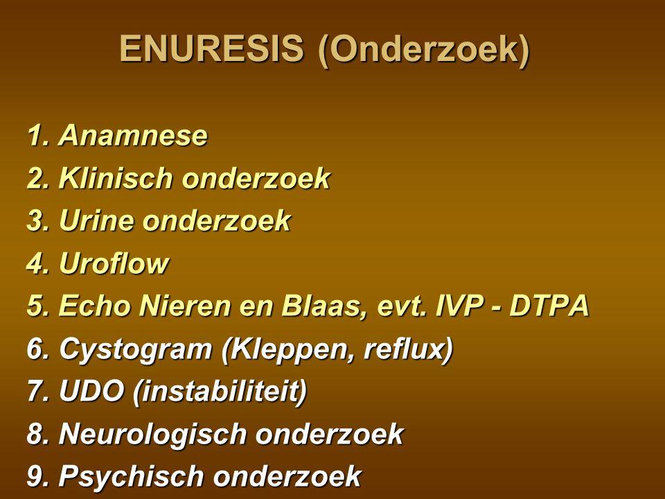 ENURESIS (Onderzoek) 1. Anamnese 2. Klinisch onderzoek