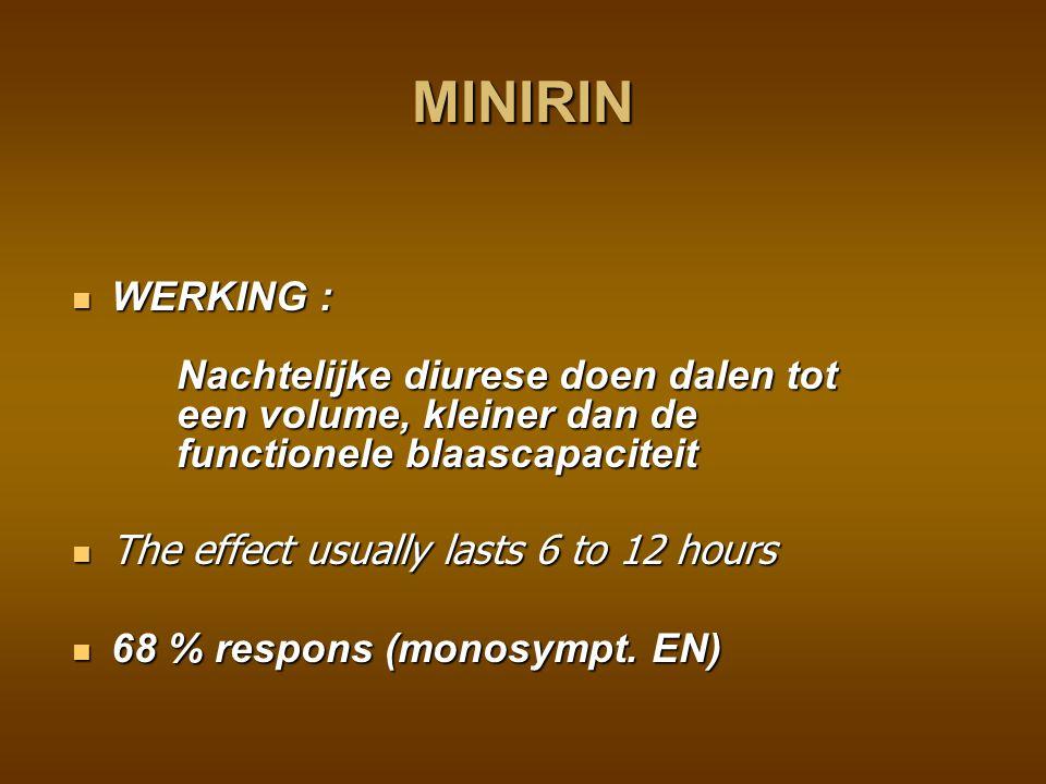 MINIRIN WERKING : Nachtelijke diurese doen dalen tot een volume, kleiner dan de functionele blaascapaciteit.