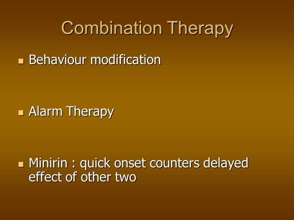Combination Therapy Behaviour modification Alarm Therapy