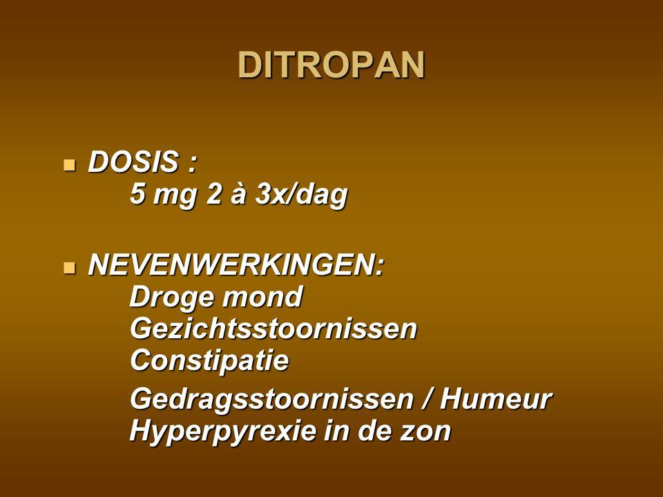 DITROPAN DOSIS : 5 mg 2 à 3x/dag