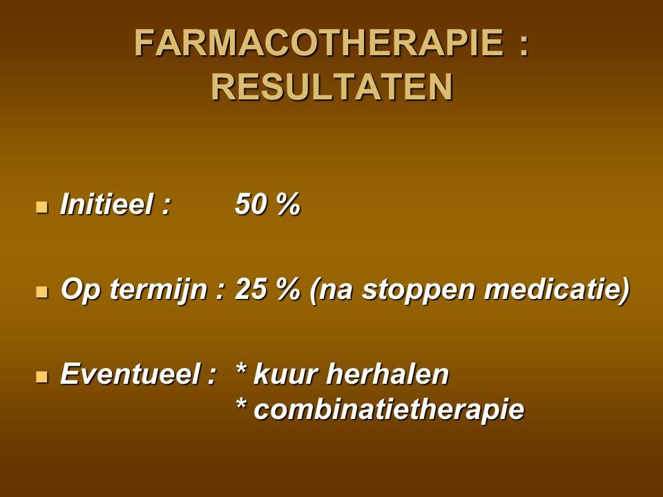 FARMACOTHERAPIE : RESULTATEN
