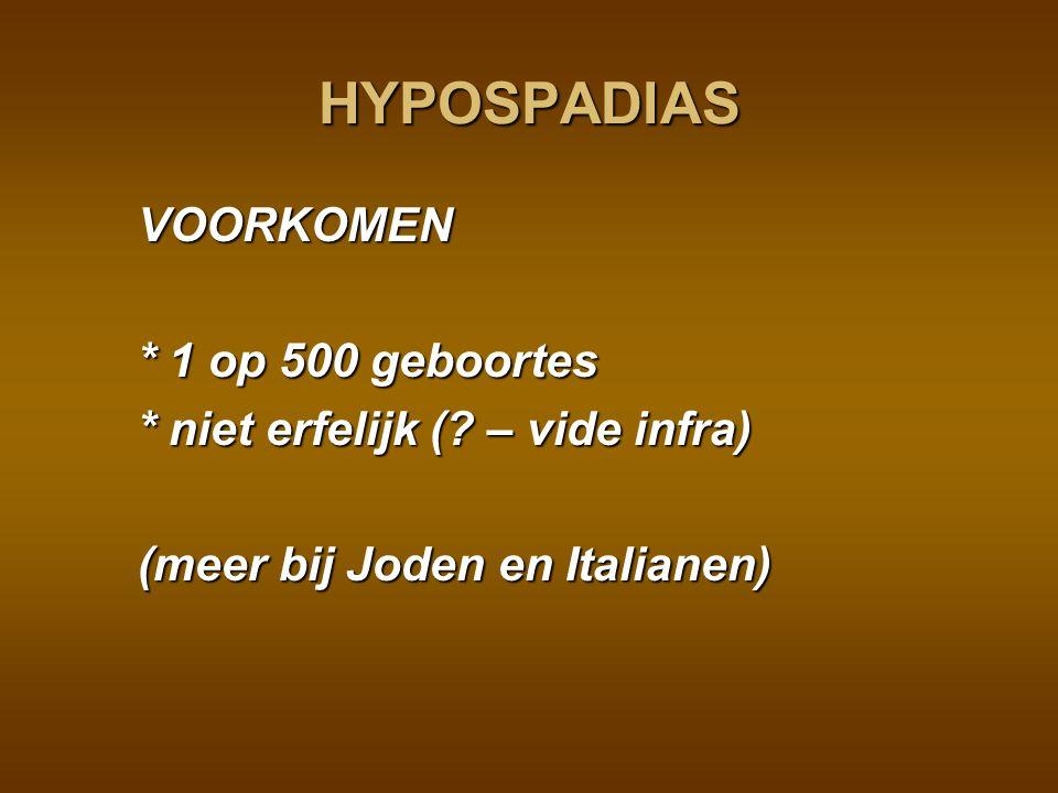 HYPOSPADIAS VOORKOMEN * 1 op 500 geboortes