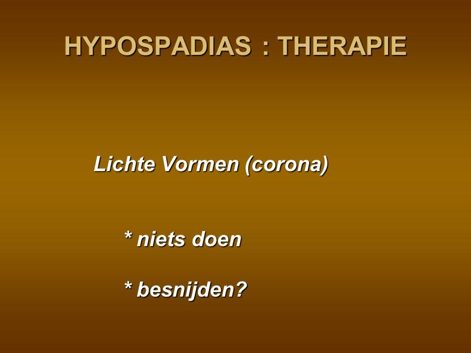 HYPOSPADIAS : THERAPIE