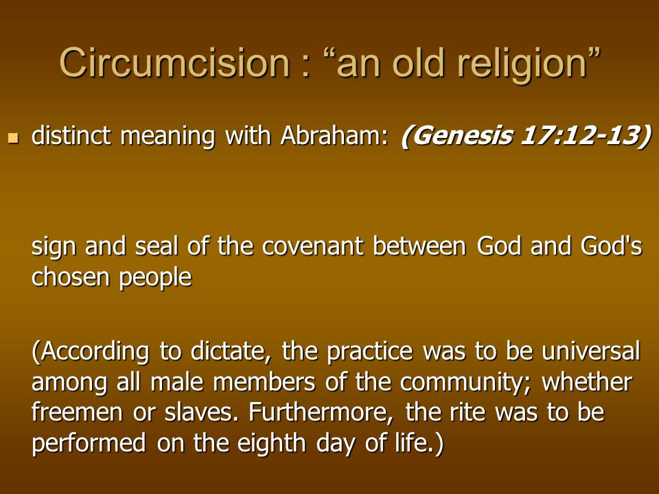 Circumcision : an old religion