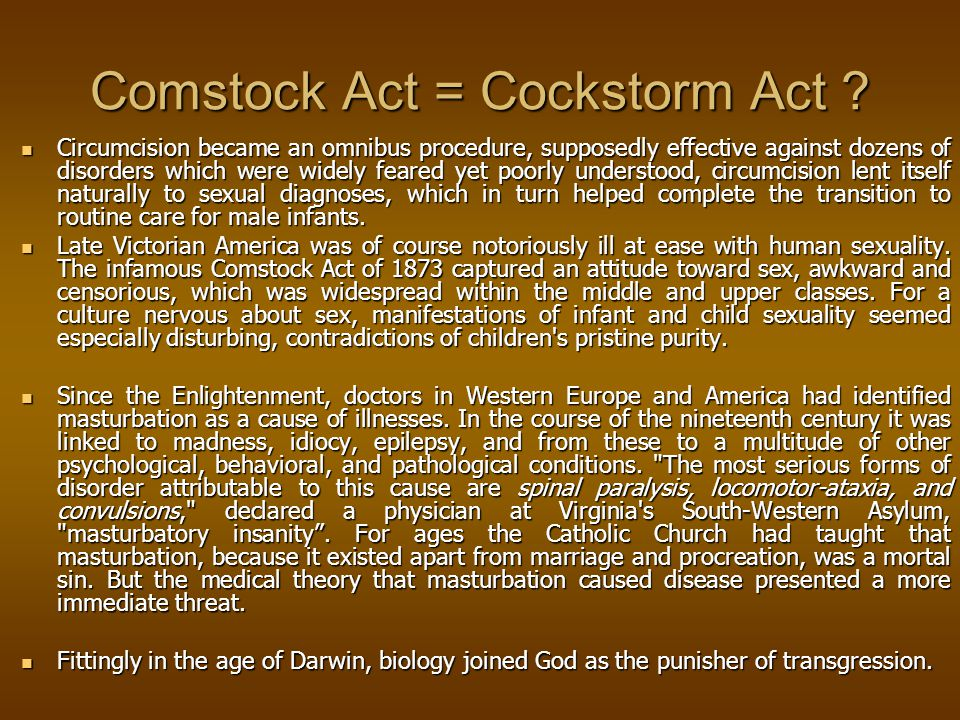 Comstock Act = Cockstorm Act