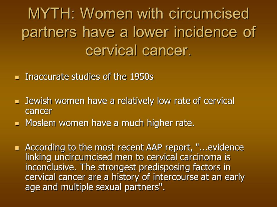 MYTH: Women with circumcised partners have a lower incidence of cervical cancer.