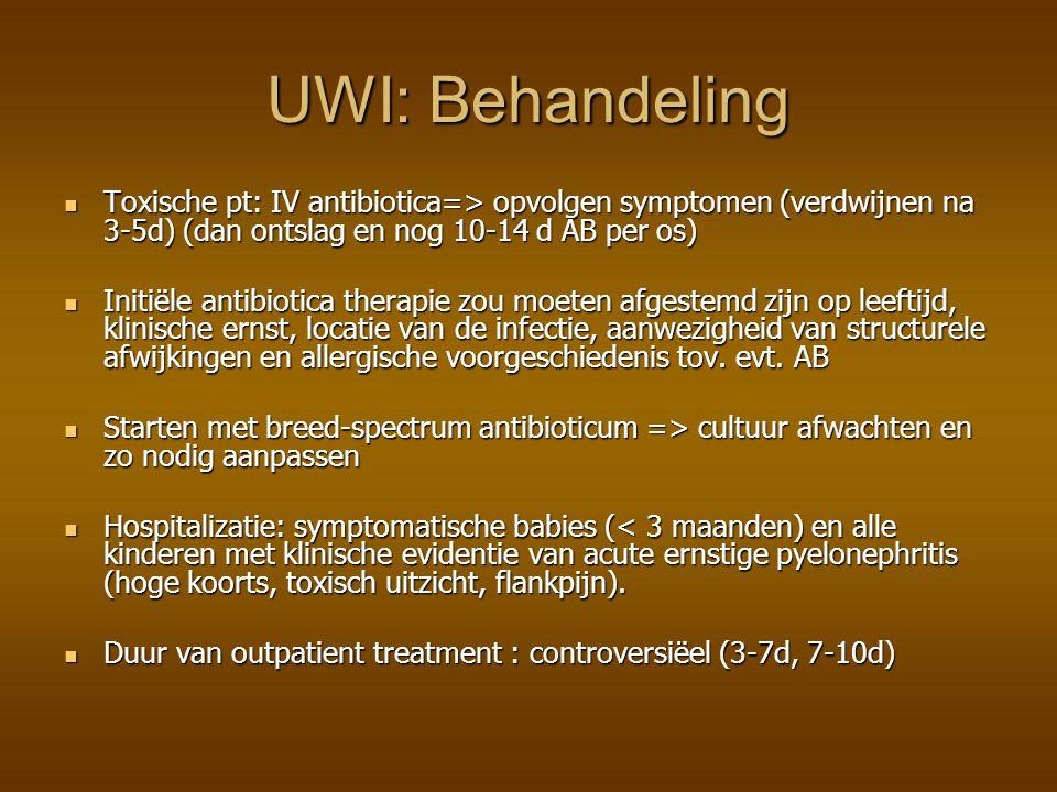 UWI: Behandeling Toxische pt: IV antibiotica=> opvolgen symptomen (verdwijnen na 3-5d) (dan ontslag en nog 10-14 d AB per os)