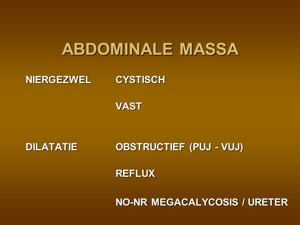 ABDOMINALE MASSA NIERGEZWEL CYSTISCH VAST