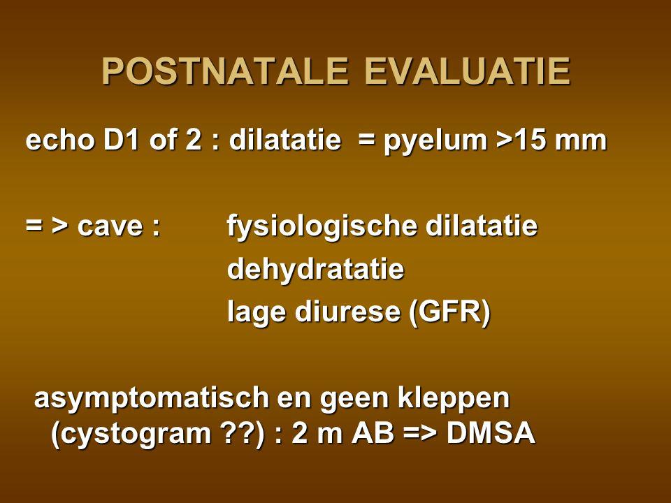 POSTNATALE EVALUATIE echo D1 of 2 : dilatatie = pyelum >15 mm